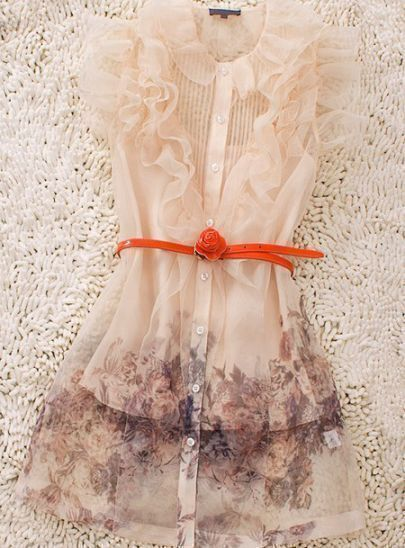 Ivory Lapel Short Sleeve Ruffles Floral Drawstring Waist Polyester Dress