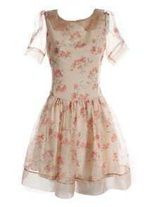Ivory Lapel Short Sleeve Floral Bow Drawstring Waist Polyester Dress