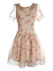 Ivory Lapel Short Sleeve Floral Bow Drawstring Waist Polyester Dress
