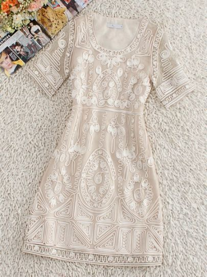Ivory Round Neck Short Sleeve Floral Zipper Polyester Dress