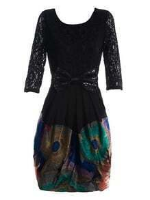 Black Round Neck Half Sleeve Bow Lace Floral Sequined Silk Dress