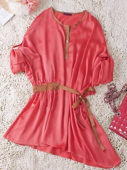Red Round Neck Long Sleeve Buttons Drawstring Waist Silk Dress