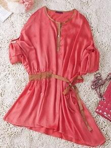 Red Round Neck Long Sleeve Buttons Drawstring Waist Silk Dress