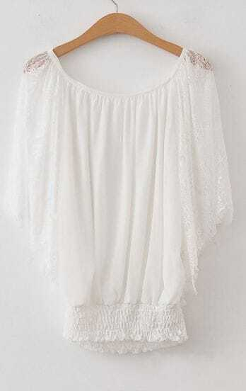 White Floral Lace Batwing Sleeve Chiffon Banded Bottom Blouse