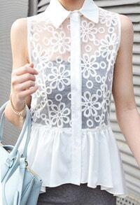 White Floral Lace Chiffon Ruffle Tail Sleeveless Blouse