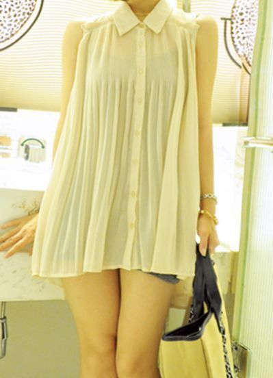 Beige Sleeveless Broomstick Pleated High Low Blouse