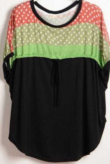Black Dolman Sleeve Strawberry Print Drawstring Front T-Shirt
