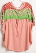 Pink Dolman Sleeve Strawberry Print Drawstring Front T-Shirt