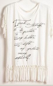 White Letter Print Tassel Hem and Sleeve T-Shirt