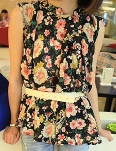 Black Chiffon Ruffle Floral Print Sleeveless Blouse