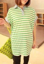 Green Cotton Striped Batwing Sleeve POLO Neck Blouse