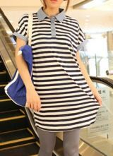 Blue Cotton Striped Batwing Sleeve POLO Neck Blouse