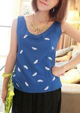 Blue V-neck Sleeveless Lips Print Zip Back Tank Top