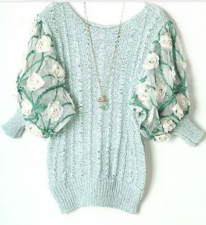 Light Green Rosette Mesh Batwing Sleeve Crocheted Sweater