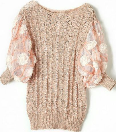 Pink Rose Rosette Mesh Batwing Sleeve Crocheted Sweater