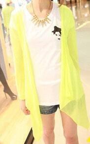 Lime Green Drape Front Long Sleeve Sheer Knit Cardigan