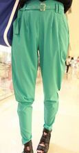 Green Belted Pleated Taperet Zip Bottom Pant