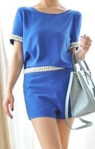 Blue Pearls Embellished Short Sleeve Chiffon Blouse with Shorts