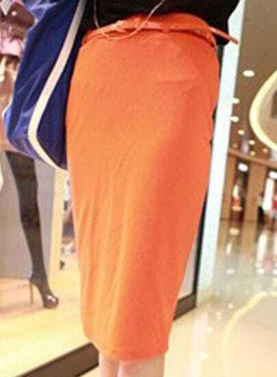 Orange Drawstring Waist Shift Plain Skirt