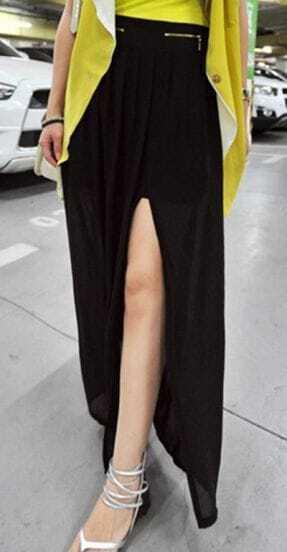 Black Split Front Pleated Ruffle Zipper Fly Maxi Skirt