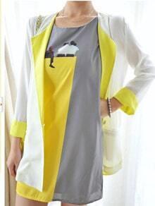 Neon Yellow Contrast Lapel and Cuffs Single Button Longline Blazer