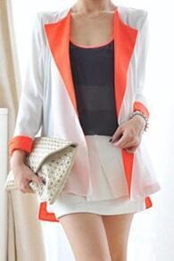 Orange Contrast Lapel and Cuffs Single Button Longline Blazer
