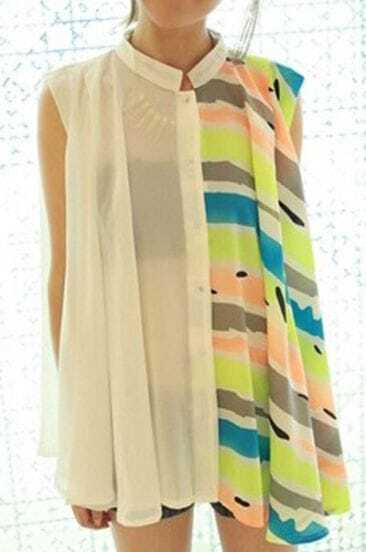 White Band Collar Striped Sleeveless Flare Sheer Blouse