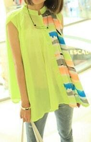 Neon Green Band Collar Striped Sleeveless Flare Sheer Blouse