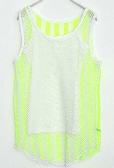 Neon Green Vertica Striped Chiffon Sleeveless Eyelet Blouse with Camisole