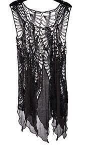 Black Asymmetric Chiffon Hem Crochet Distressed Knit Blouses