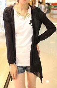 Black Drape Front Long Sleeve Sheer Knit Cardigan