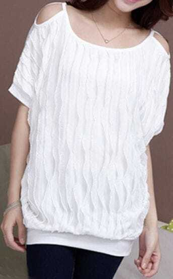 White Batwing Sleeve Cut Out Shoulder Short Sleeve T-shirt