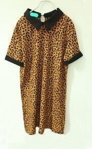 Yellow Leopard Contrast Collar Short Sleeve Shirt
