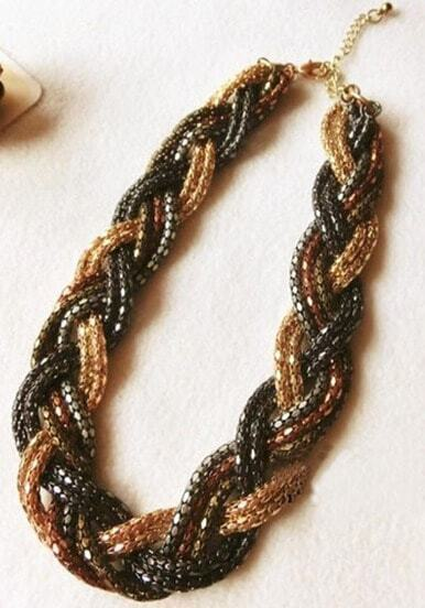 Gold Black Hand Beaded Twisted Collar Necklace