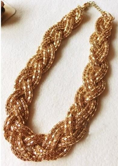 Goldtone Hand Beaded Twisted Collar Necklace
