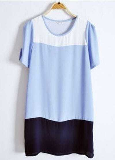 White Blue Navy Round Neck Short Sleeve Loose Chiffon Dress