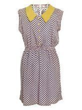 Blue Lapel Sleeveless Heart Print Mid Waist Chiffon Dress