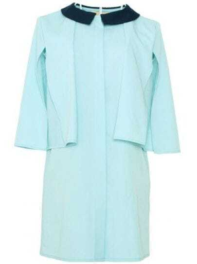 Blue Vintage Lapel Short Sleeve Single Breasted Chiffon Dress