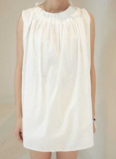 White Vintage Round Neck Sleeveless Pleated Loose Dress
