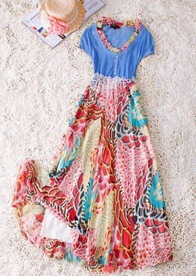 Blue Vintage Round Neck Short Sleeve Floral Polyester Dress