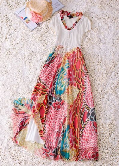 Beige Vintage Round Neck Short Sleeve Floral Polyester Dress