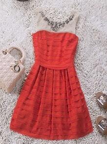 Red Round Neck Sleeveless Sequined Pleated Polyester Tiered Dress