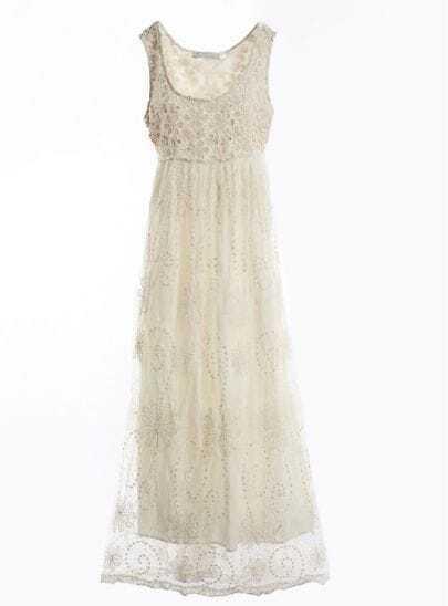 Beige Scoop Neck Sleeveless Floral Sheer Mesh Yoke Cotton Dress