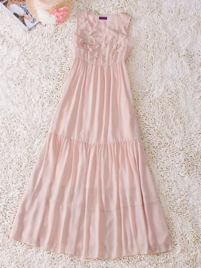 Pink Round Neck Sleeveless Flowers Pleated Silk Dress