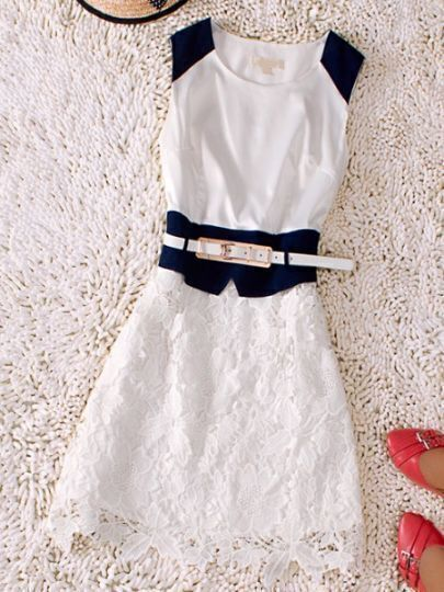 White Round Neck Sleeveless Hollow Drawstring Waist Silk Dress