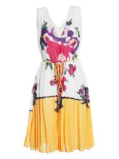 Beige V Neck Sleeveless Pleated Floral Silk Dress