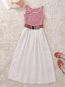 Red White Round Neck Sleeveless Striped Cotton Dress