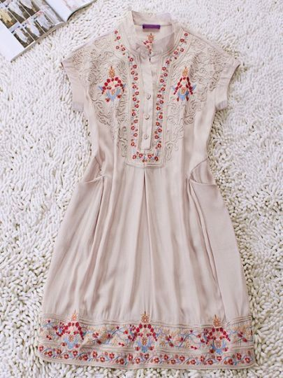Ivory Vintage High Neck Short Sleeve Pleated Floral Polyester Dress