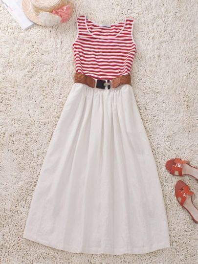 Red White Round Neck Sleeveless Striped Cotton Dress