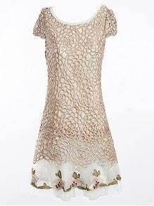 Apricot Floral Crochet Embroidered Silk Cap Sleeve Dress